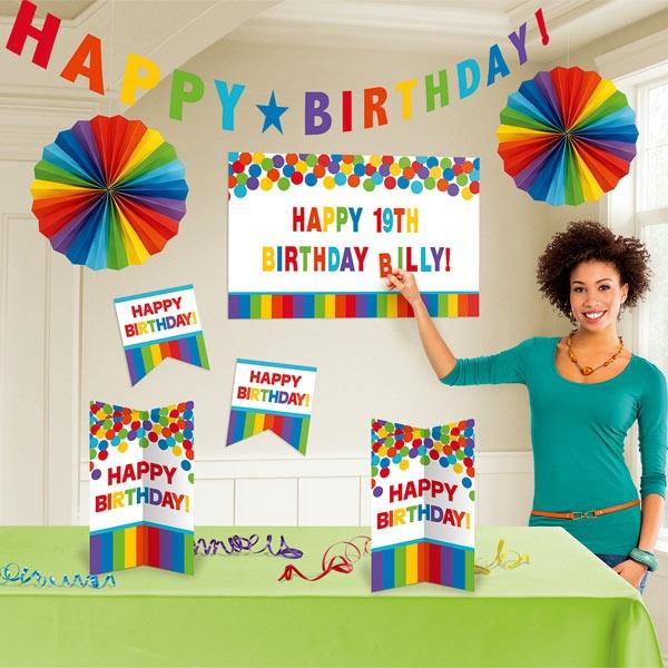 Rainbow Raumdeko-Set, Birthday-Deko im Regenbogen-Design, 128-tlg.