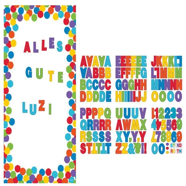 Regenbogen-Türposter, 165×85cm, mit Buchstaben für eigene Sprüche