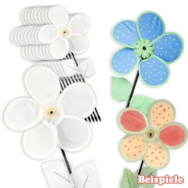 Großpack Windrad Blumen 10 Stück, Kinder-Windmühlen zum Bemalen