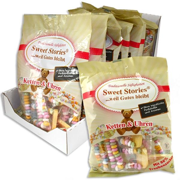 Sweet Stories Knabberketten + Uhren, 12 Tütchen mit Knabberkettchen/Knabberuhren