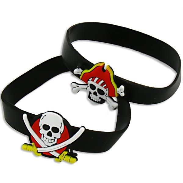 Piraten-Armband mit Totenkopf, Gummiarmband für Kinder, 1 Stück