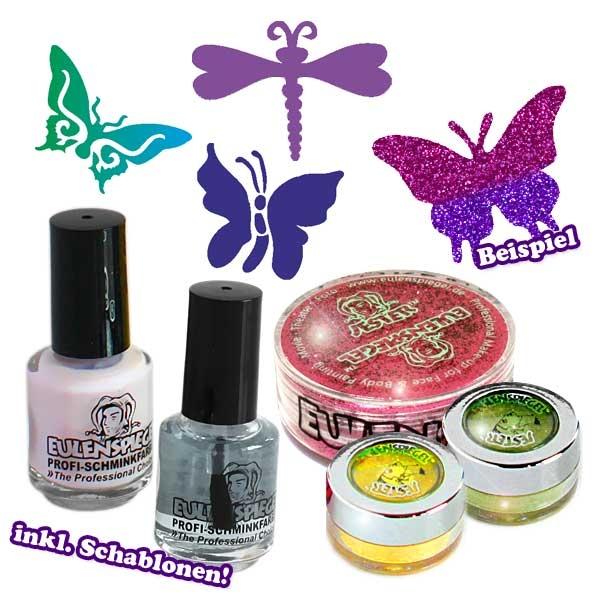 """Schmetterlinge"" Glitzer Tattoo-Set,   9-teilig"