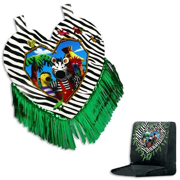 Zigby - das Zebra, Stuhlhusse mit grünen Metallic-Fransen, Mottoparty Geschenk