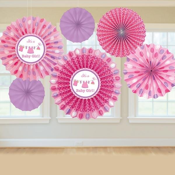 Dekofächer Blumen Baby Girl im 6er Pack, pink, +Schnur, aus Papier