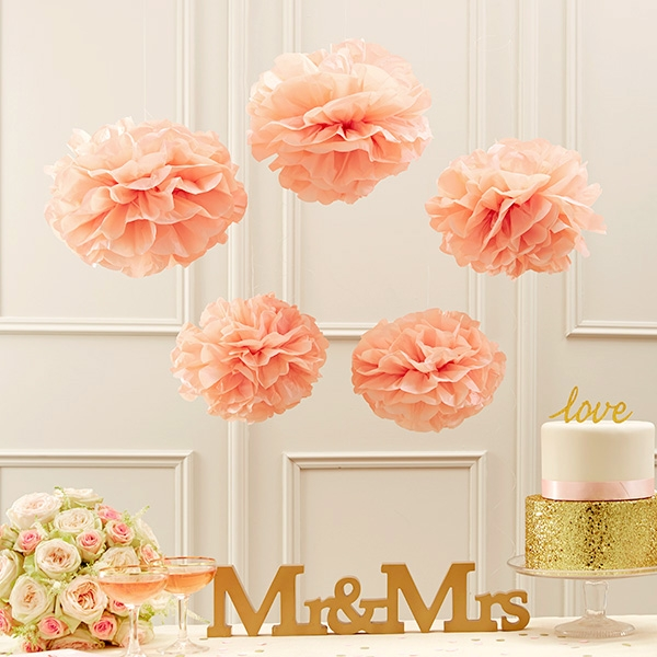 Pompoms in Rosa, 5 Pompom-Bälle aus Papier als Hängedeko im Set