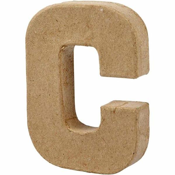 C Buchstabe, handgearbeitet aus Pappe, zum Bemalen/Bekleben, ca. 10 cm