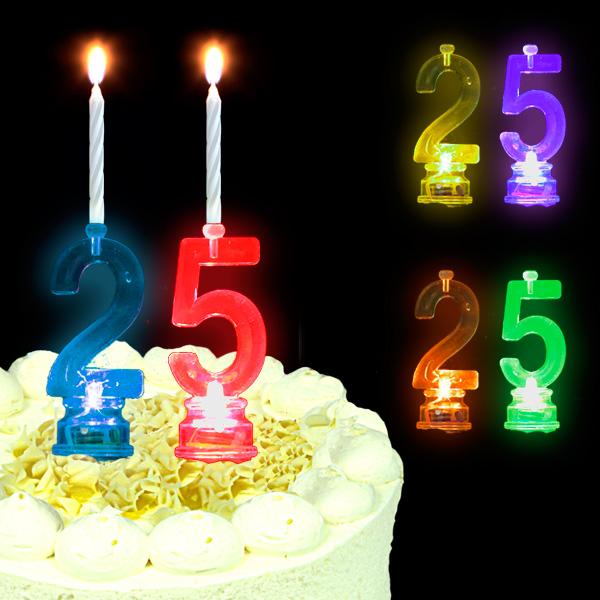 Blinkende Geburtstagszahl 25 für Silberhochzeit oder 25. Geburtstag