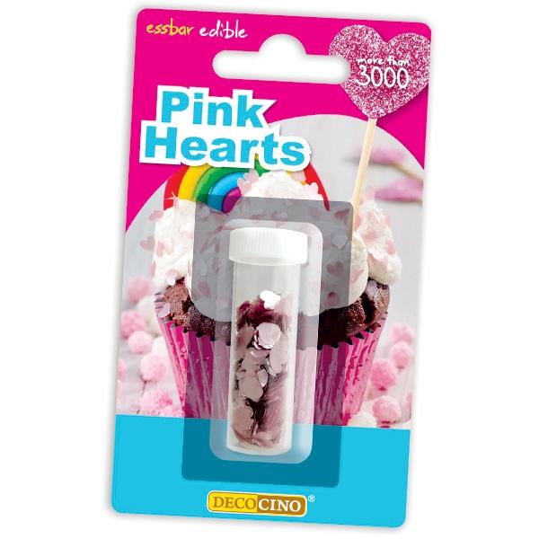 Streudekor - Rosa, essbare Herzen für Muffins, Torte, 1,3g