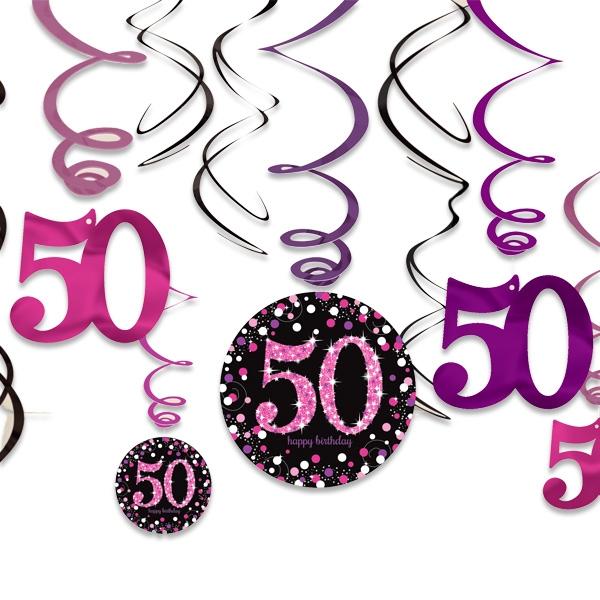 Spiralen zum 50. Geburtstag einer Frau in Pink, 12er Pack, Folie/Pappe