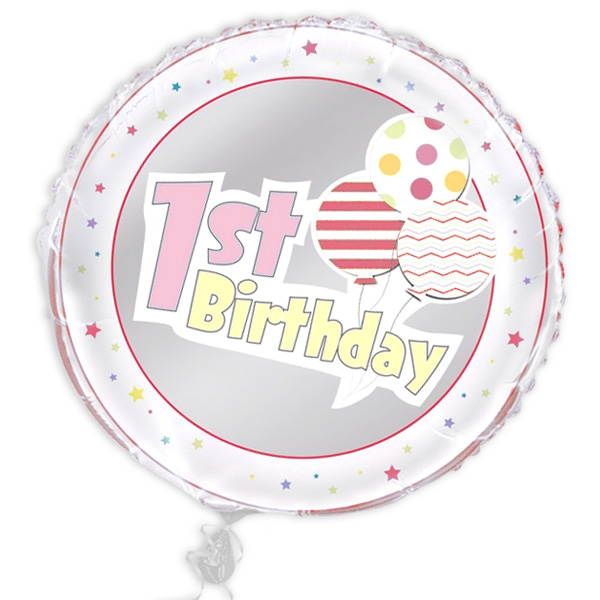 "Folienballon ""1st Birthday"", rosa, Ø 45cm"