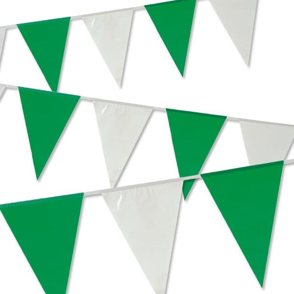 Wimpelkette in Grün/Weiß 10m lang, für drinnen und draußen, aus PVC