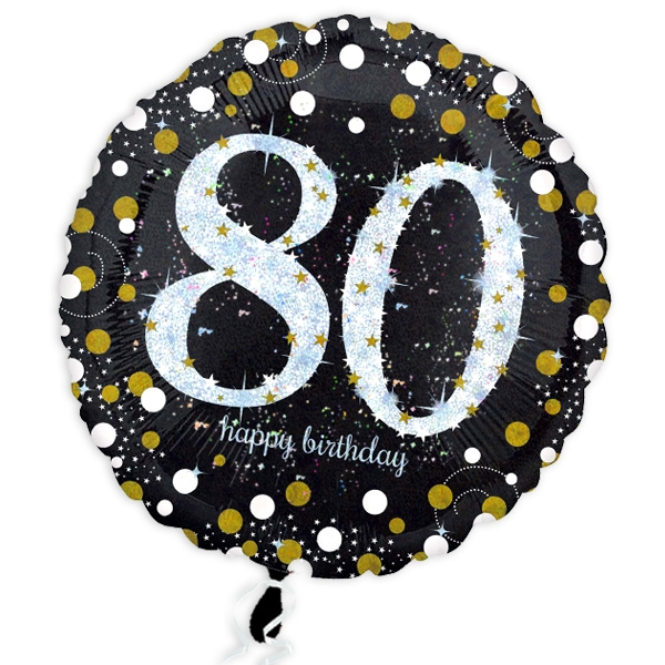 Glitzer-Folieballon XXL, 71 cm, für 80. Geburtstag, runder Heliumballon