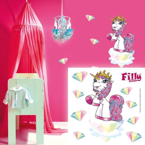 Wandtattoo Filly Unicorn 9-teilig, Kinderzimmerdeko für Mädchen