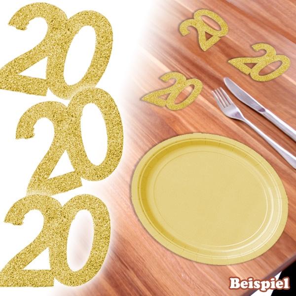 Glitterzahl 20 in Gold für 20sten Geburtstag / Hochzeitstag, 6 Stück