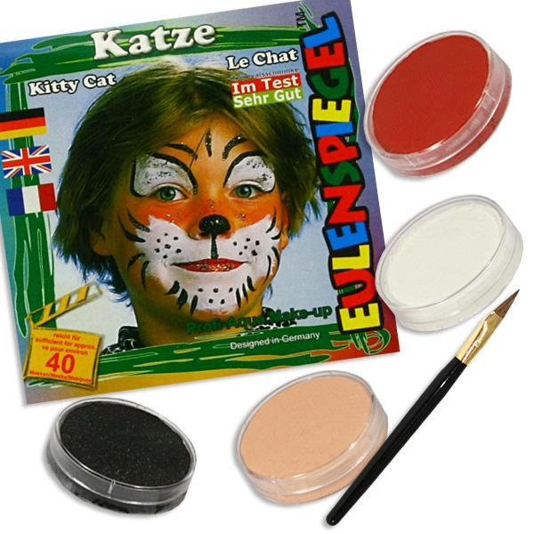 Kinderschminke-Set Katze, so süß!, Profi-Aqua, 4 Farben+Pinsel