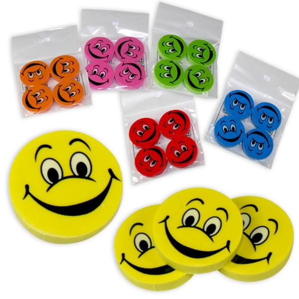 Smiley Radierer-Set, 4 Stück, 2,5cm, Radiergummis als Mitgebsel zur Emoji-Party