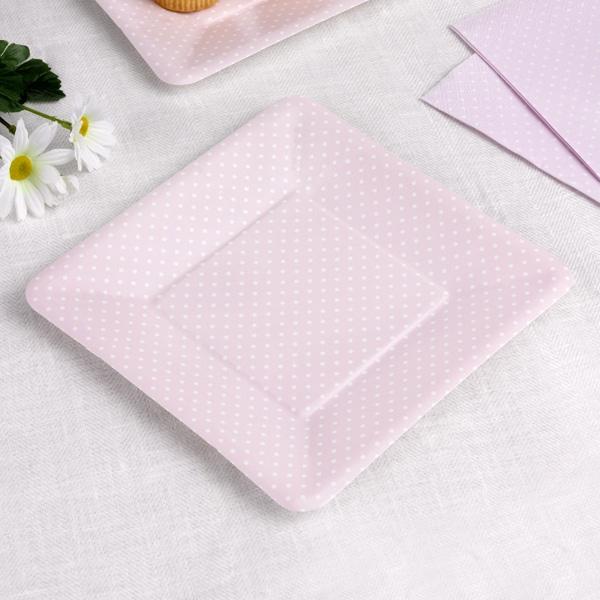 Teller in zartem rosa mit weißen Punkten, 8 Stück, 19 cm