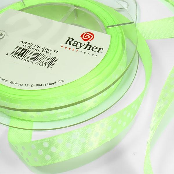 Satinband gepunktet, hellgrün mit weißen Punkten, 10m, ca. 1cm breit