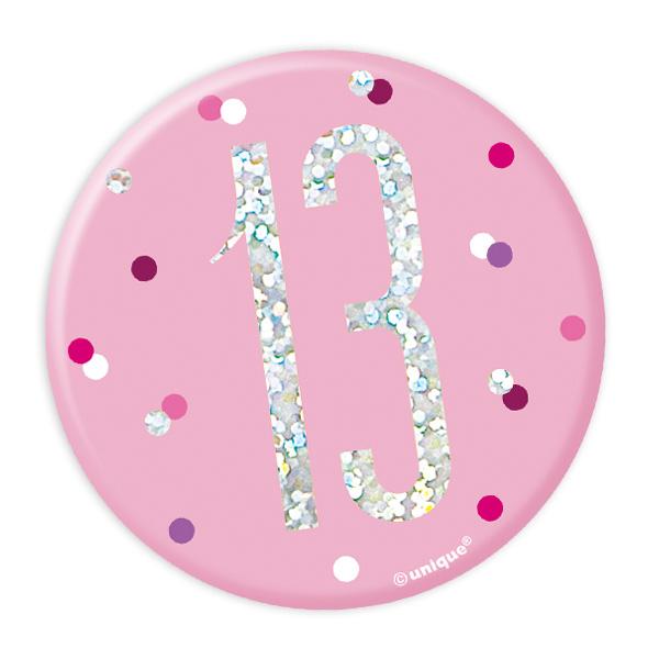 Zahl 13 Glitzer-Button, 7,5cm, als Anstecker in Pink