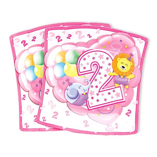 Kleine Partyteller, 2. Geburtstag Mädchen, 10 Stück, 19 cm
