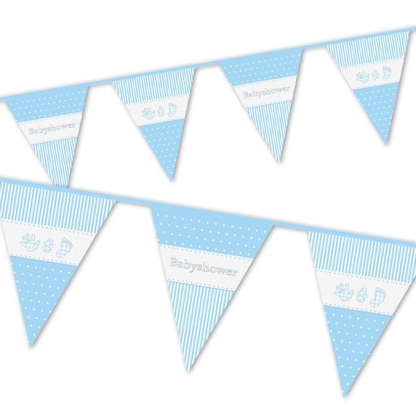Baby Shower Boy Wimpelkette, blau