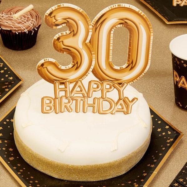 "Cake Topper ""30. Happy Birthday"", Gold"