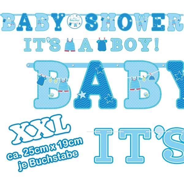 Buchstabenketten Baby Shower + It's a Baby Boy, 2,5m +1,8 m, Pappe