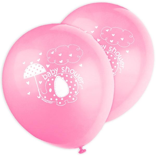 Baby Shower Ballons mit Elefant im 8er Pack zur Geburt eines Mädchens