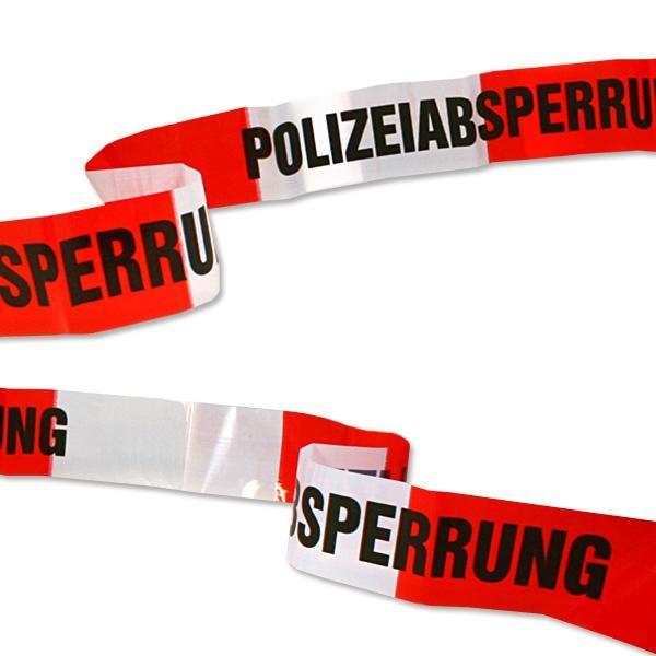"""Polizei-Absperrband rot/weiß 10m mit Schrift """"Polizeiabsperrung"""", Folie"""