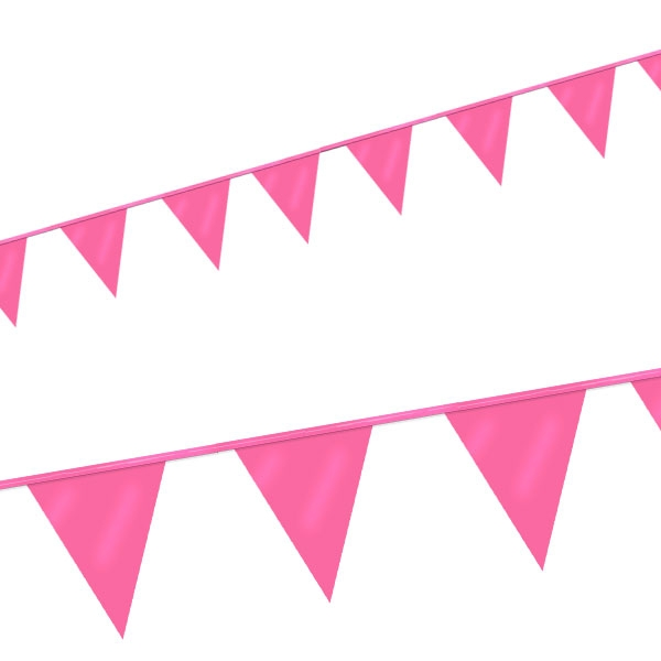 Mini Wimpelkette in Rosa mit 12 Partywimpeln aus Folie, 3m