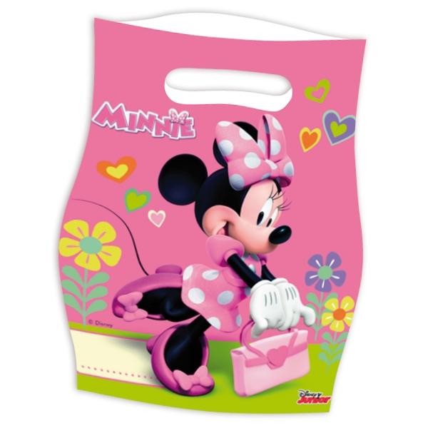 Minnie Tütchen, 6 Stk., 16cmx23cm, Partytüten mit Minnie Mouse, Folie