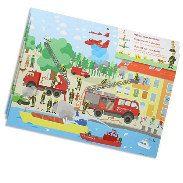Platz-Set Feuerwehr als Spiel, 6 Stück Platzdeckchen zum Suchen, Finden, Ausmalen