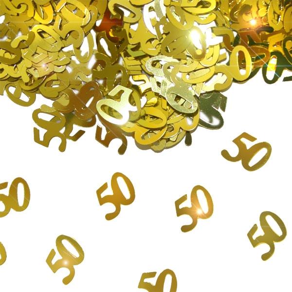 Metallic-Konfetti Zahl 50 golden für 50. Jubiläum, 14g