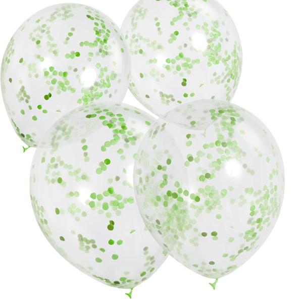 Konfetti-Ballons, grün, 6 Stk, 30cm