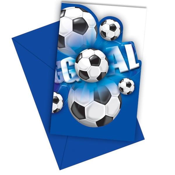 Fußball Einladungen blaues Design mit blauen Umschlägen im 6er Pack