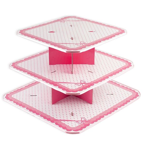 Muffin-Etagere, rosa, 3-stöckig, 31 cm