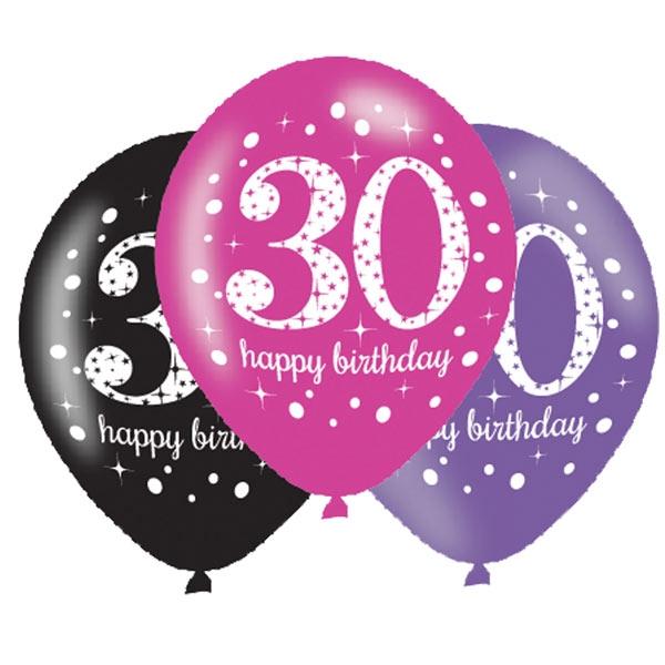 Luftballons zum 30. Geburtstag, 6 Stk, 27,5cm