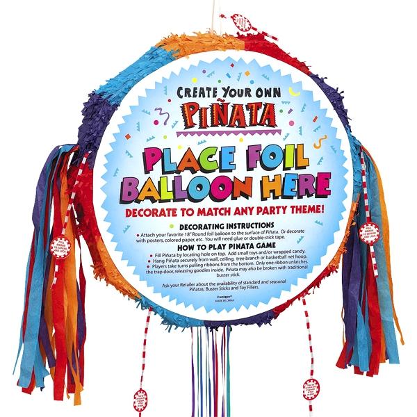 Zugpinata selbst dekorieren 45 cm, z.B. runden Folienballon aufkleben