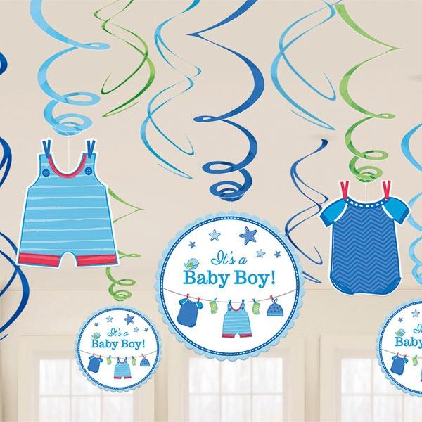 Metallic-Spiralen Hängedeko zur Baby Shower-Party, Es ist ein Junge!, 12er
