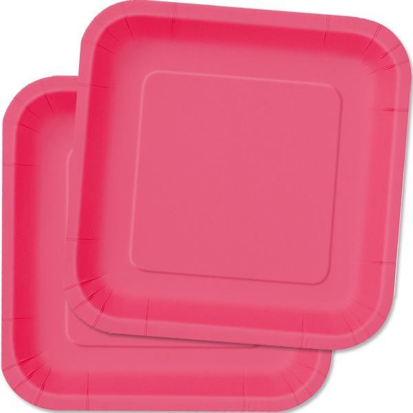 Partyteller quadratisch in Pink, Einwegteller aus Pappe, 14 Stück