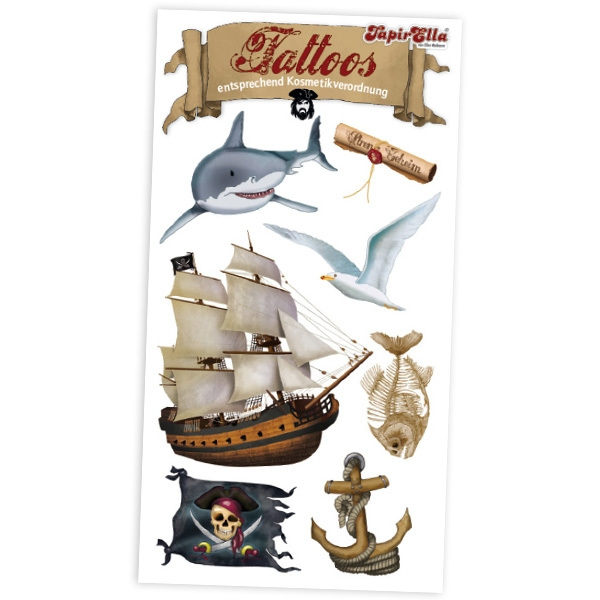 Piraten-Tattoos, 7 Klebetattoos mit Piratenschiff, Schatzkarte, Hai etc.