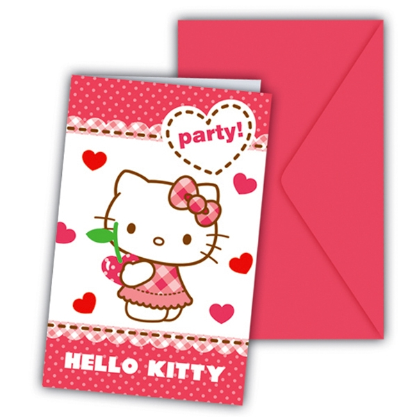 Hello Kitty Hearts Einladungskarten mit Feldern +Umschläge, 6er, 14 cm