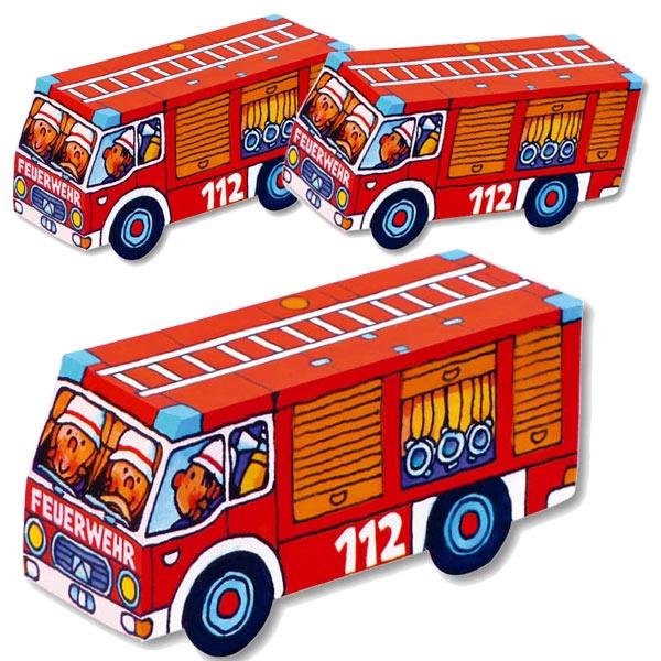 Falt-Set Feuerwehr, für 8 Feuerwehrautos zum Selberfalten, ohne Kleber