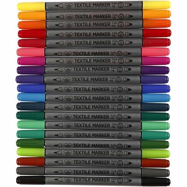 Textilmarker, Qualitätsstifte, 20 Stk, nach Fixierung bei 40 Grad waschbar, Doppelspitze