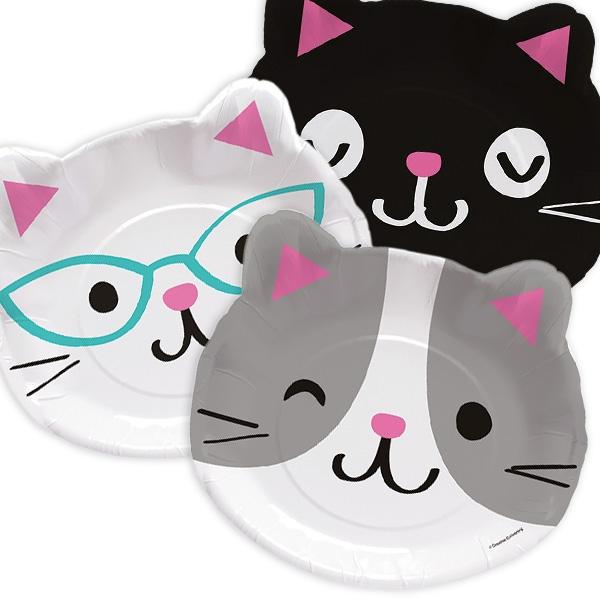 Kätzchen Partyteller im 8er Pack als niedliche Katzenköpfe, Pappe, 23cm