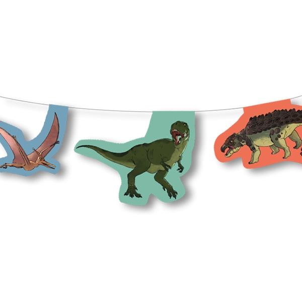 Dinosaurier Motiv-Girlande für Dinoparty aus Pappe, 3,5 m, 1 Stück