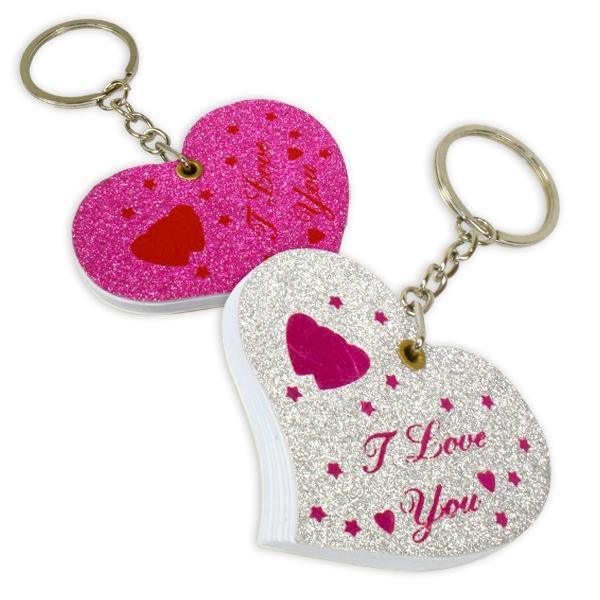 Schlüsselanhänger als Herz, I LOVE YOU-Aufdruck, 1 Stk. Herzanhänger