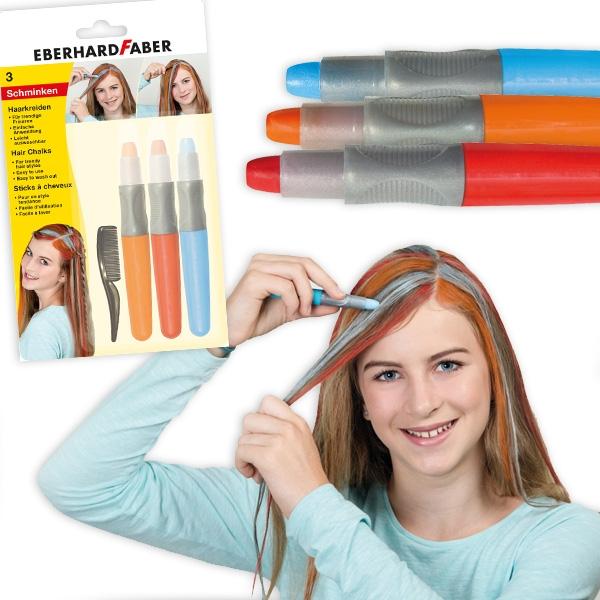 Haarkreide Set Basic in Rot, Orange und Blau, mit Kamm, auswaschbar