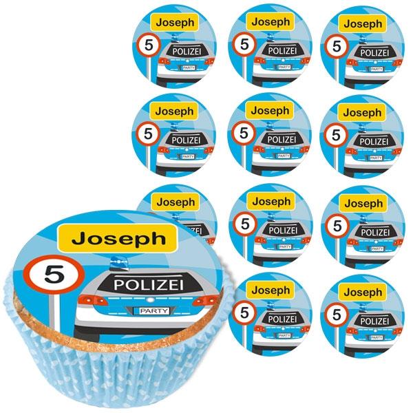 Personalisierte Muffinaufleger, 12 Stück, Polizei, d= 5cm
