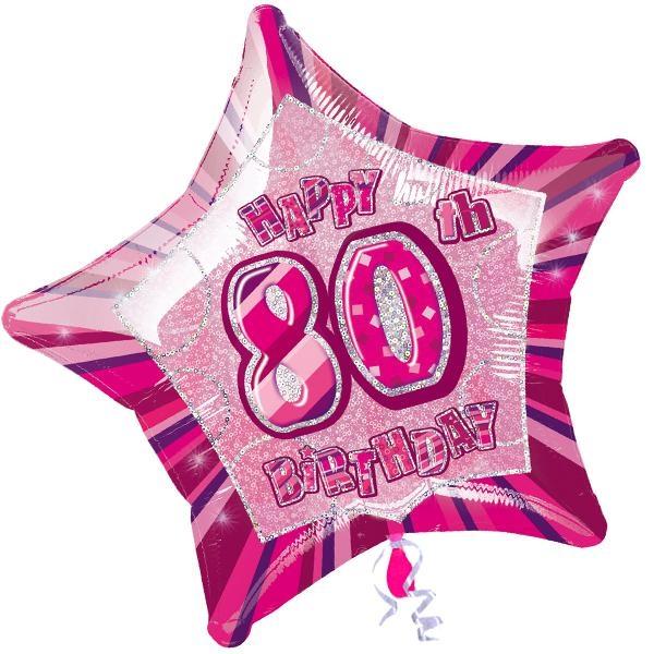 Folienballon sternförmig +Zahl 80, pink, 45cm, für Helium